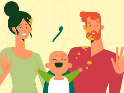 Good Goût parenthood short film motion food cute baby man woman illustration minimal character colors flat