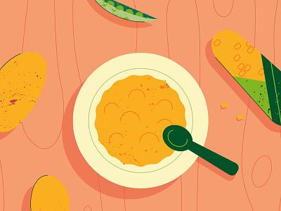 Good Goût 3 texture wood table potatoe corn plate food illustration colors flat
