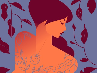La femme au tatouages moon tree leaves tatoos tatoo vector color girl woman minimalist illustration minimal character colors flat