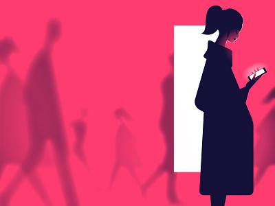 More screens rush screen light phone vector color girl woman minimalist illustration minimal character colors flat