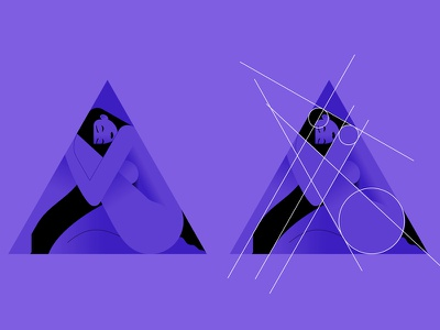 Triangirl 02 vector color girl woman minimalist illustration minimal character colors flat
