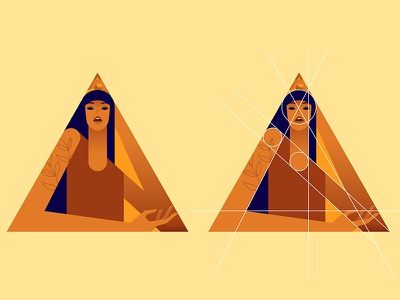Triangirl 03 vector color girl woman minimalist illustration minimal character colors flat