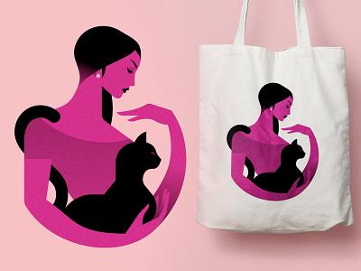La femme au chat 2 merch totebag pet cat woman minimalist illustration minimal character colors flat