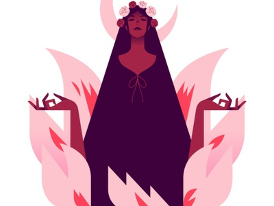 Season of the witch crown flowers moon haloween witch woman minimalist illustration minimal character colors flat