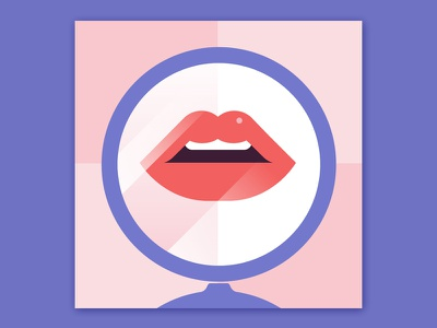 Rendez-vous cosmetic mirror lips woman sexy minimal girl fashion colors