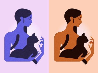 La femme au chat illustration animal cat woman sexy minimal minimalist girl fasion design colors character