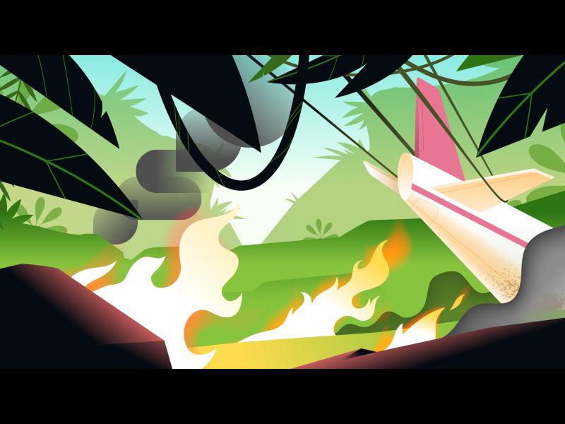 Jungle game flames fire crash plane jungle scenery background