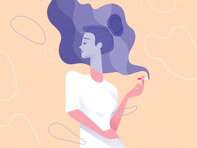 Unused concept smoking concept hand hair smoke cigarette vector fashion design woman illustration girl minimal colors character flat