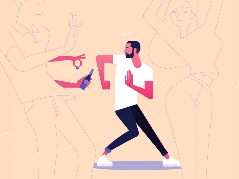 12 simple ways to fight cancer round 4 minimalist vector woman illustration girl minimal flat color bottle alcohol party dance human man character