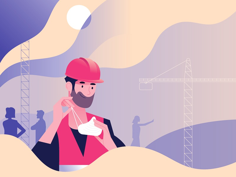 12 simple ways to fight cancer round 5 security construction site worker workspace mask workplace work vector color illustration minimal character colors flat