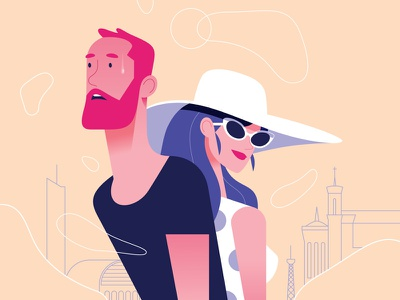 12 simple ways to fight cancer round 7 city heat sun glasses hat man woman minimalist illustration minimal character colors flat
