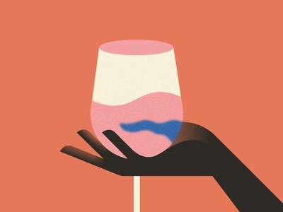 Vinochromie liquid reflect vector color wine glass hand illustration minimal colors flat