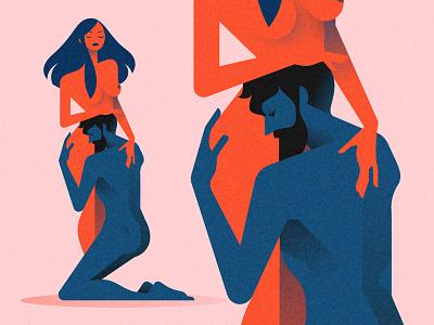 Love 02 love boy vector nude beard man girl woman illustration minimal character colors flat