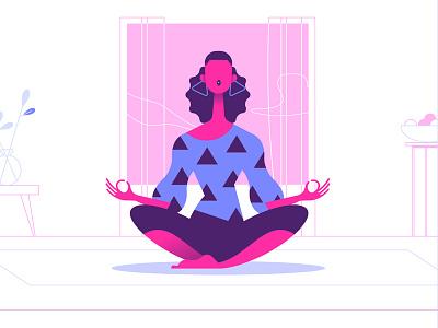 Zen frame home cozy yoga zen girl woman minimalist illustration minimal character colors flat