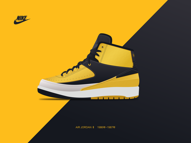 # AJ series # AIR JORDAN Ⅱ: 1986-1987 icon logo 商标 design 插图 图标 illustration