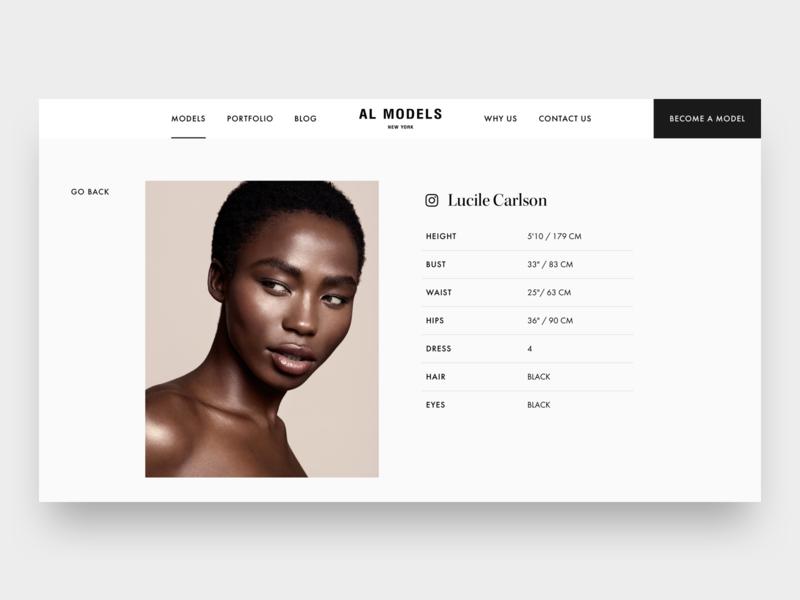 Model agency AL Models website webdesign webdesigner ui ui design ui designer models luxury minimal minimalism concept