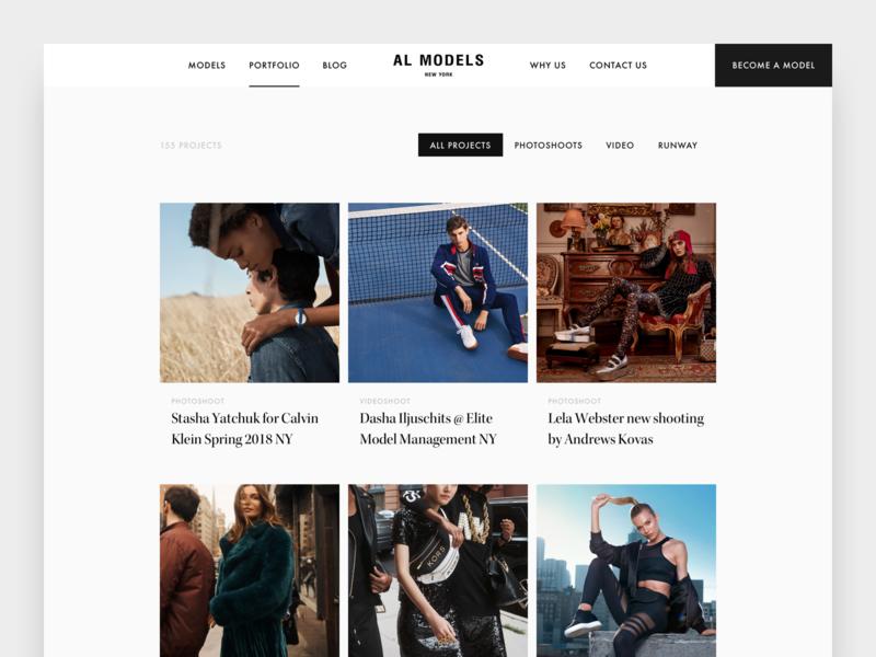Model agency AL Models concept minimalism minimal luxury models ui designer ui design ui webdesigner webdesign website