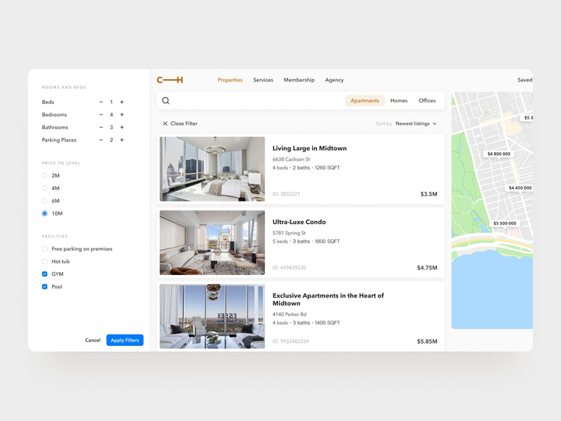 Filter apartments filter filters dailyui daily 100 challenge minimal ui ux uiux ui  ux uiuxdesign maps search interface interfacedesign daily ui challenge webdesign web design product design web