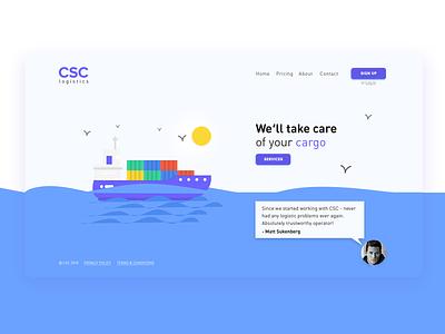 Landing page. UI Card. blue logistics cargo ps photoshop ui design web design card ui ui card
