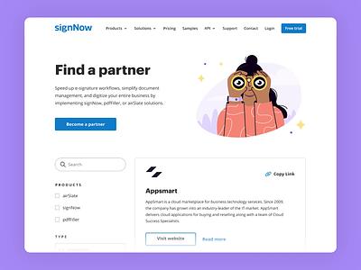 signNow Partnership Page design ui animation illustration animation ux ui