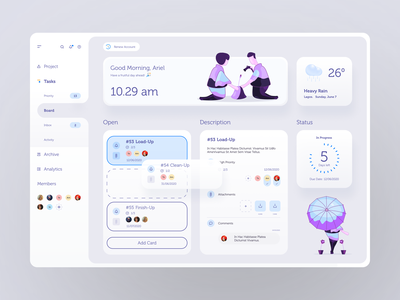 Task Management admin panel time-tracking color palette team communication weather clock travel layout attachment typography progress schedule scheduler time saas trello remote doodle interface card project managment