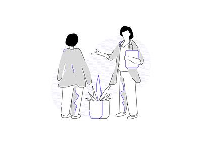Doctor Illustration advice consultation medical monoline monochrome app minimal line flat doodle clean vector