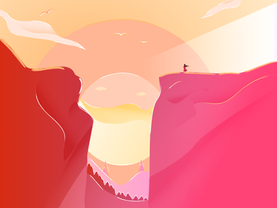 Landscape (Sunset) painting doodle cherry gradient color environment glossy 2d art sunset mountain scenery scalable illustration clean vector