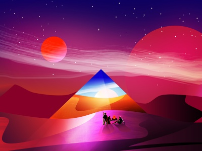Timescape proposal campfire ancient egypt futuristic portal night planetary mars vector clean illustration scalable scenery 2d art glossy environment gradient color cherry doodle painting
