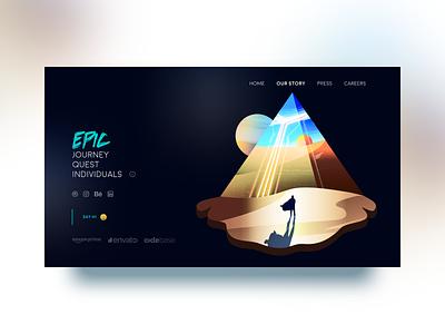 Our Story - header II shadow light cape desert safari pyramid 2.5d isometric 3d dark m web clean ui ux illustration vector