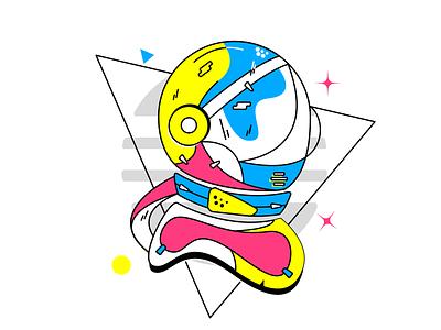 Space ready idea astronaut suit biker graphic design visual designer palette color theory doodle illustration clean vector