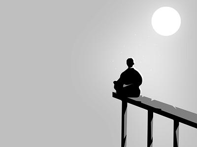 Inner Peace 🙏🏻 edge sitting on a ledge shadow negative space monotone light moon meditation yoga web doodle illustration clean vector