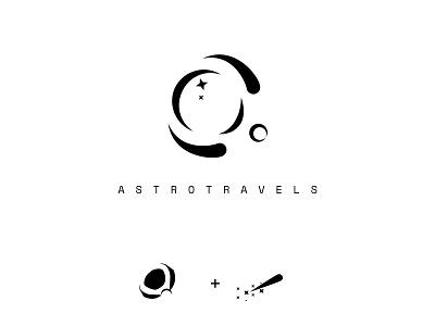 Travel logo astronaut asteroid rocket travel space negative space stroke clean doodle vector graphic design logo branding