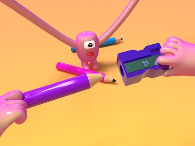 Sharply - 3D character 3dmodeling web illustrations sharpener zoom pov perspective 3d cute rubber elastic pencil art character design gummy illustration vector