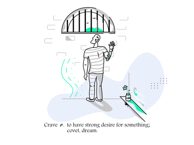Crave shadow line 2d dribbble prison hand bionic futuristic tech cyberpunk isometric art material vector google illustration doodle branding typography