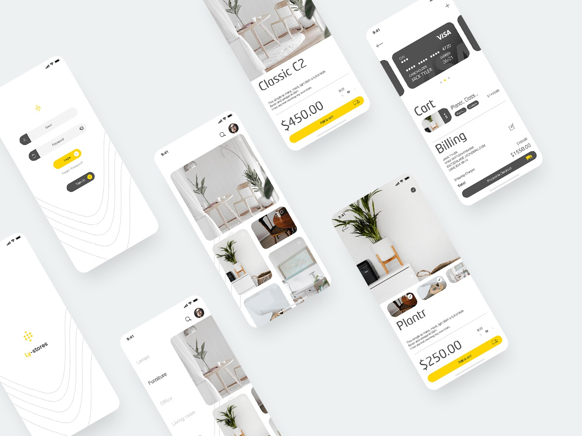 Furniture App ui typography noire mobile iphonex ios icon google store furniture flat figmaafrica figma checkout credit card clean catalogue catalog branding app