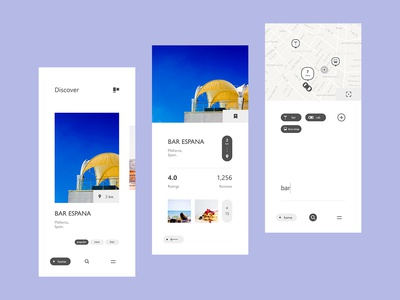 Restaurant App ui layout design interaction design map filter tag place food local drink travel out eating restaurant nav navigation tab icon typography clean