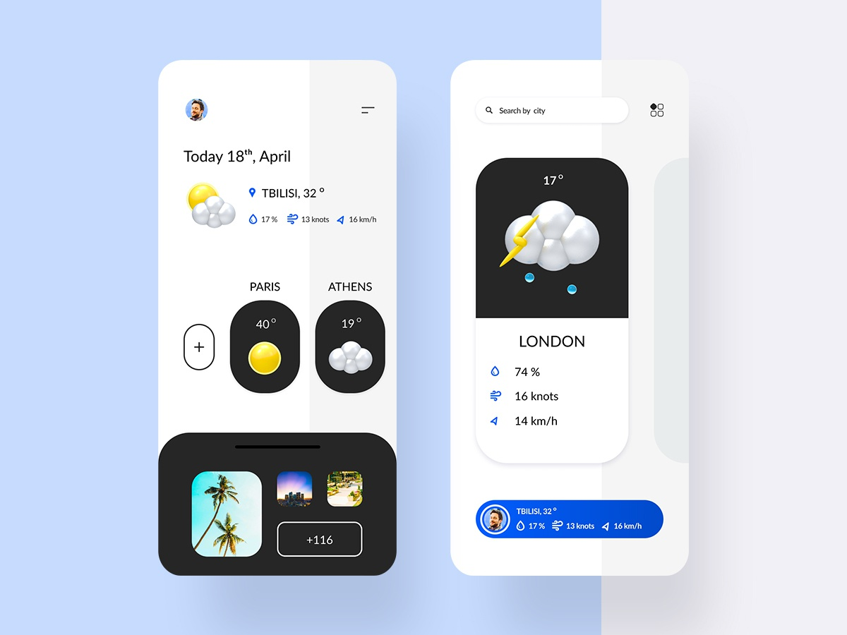 Weather app 3d art fluent design doodle typography clean branding illustration vector ux upcoming stats progress profile mobile ios home design dashboard application app