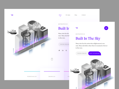 City b2b responsive building adaptive website conceptual visual design vector product design typography sky isometric modern layout header clean white space 2.5d ux research grid