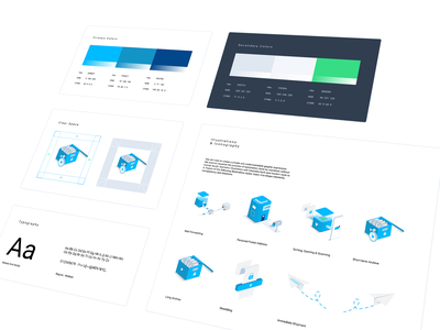 Illustration style guide style guide mailing font ui kit website design infographic mailbox 3d art design system icon set isometric negative space ux card automation typography branding and identity grid layout vector illustration