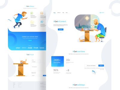 Page exploration II b2b 2d art direction illustration color palette branding negative space clean header layout minimal typography saas website vector visual design doodle infographic card color theory blob