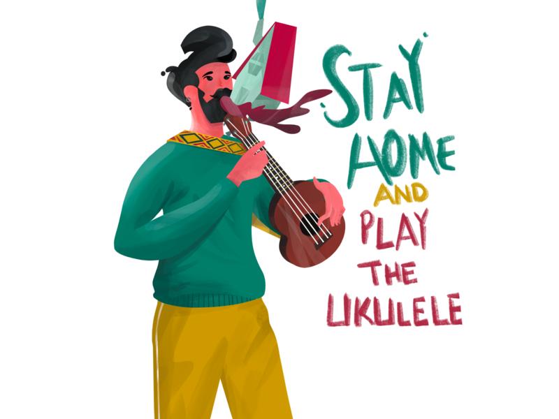 Stay Home and Play the Ukulele coronavirus home corona ukulele art stayhome digital art procreate illustration anilemmiler