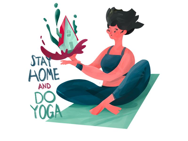 Stay Home and Do Yoga stayhome coronavirus corona home illustration art yoga digital art procreate illustration anilemmiler
