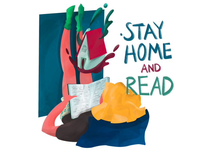 Stay Home and Read coronavirus stayhome corona magazine procreate illustration anilemmiler