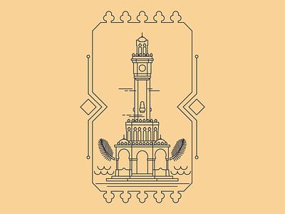 Izmir Clock Tower municipality cityscape city illustration lines line artwork linework card clock tower izmir turkey symmetrical vectorart vector graphic design line art graphic illustration