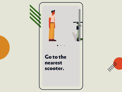 Electric Scooter - App Onboarding illustration street motion graphics city animation onboarding ui app rental