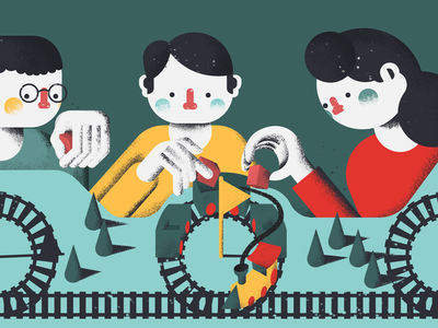 Agile Design Thinking train procreate digital painting digital art medium editorial flat illustration illustration anilemmiler