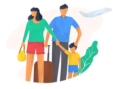Family insurance assurance travel family portrait family digital art web illustration procreate illustration anilemmiler