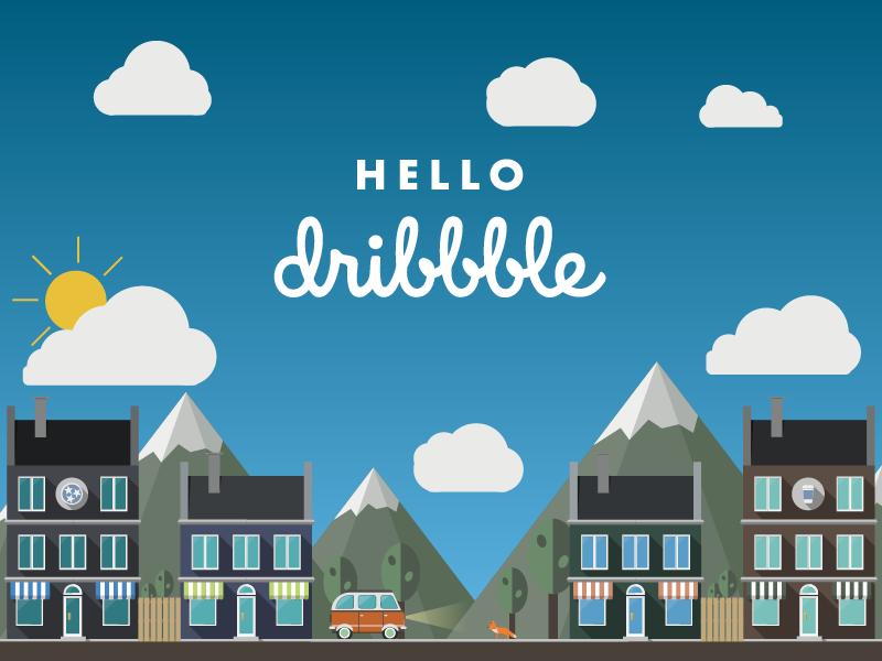 Hello Dribbble! city hello illustration landscape debut