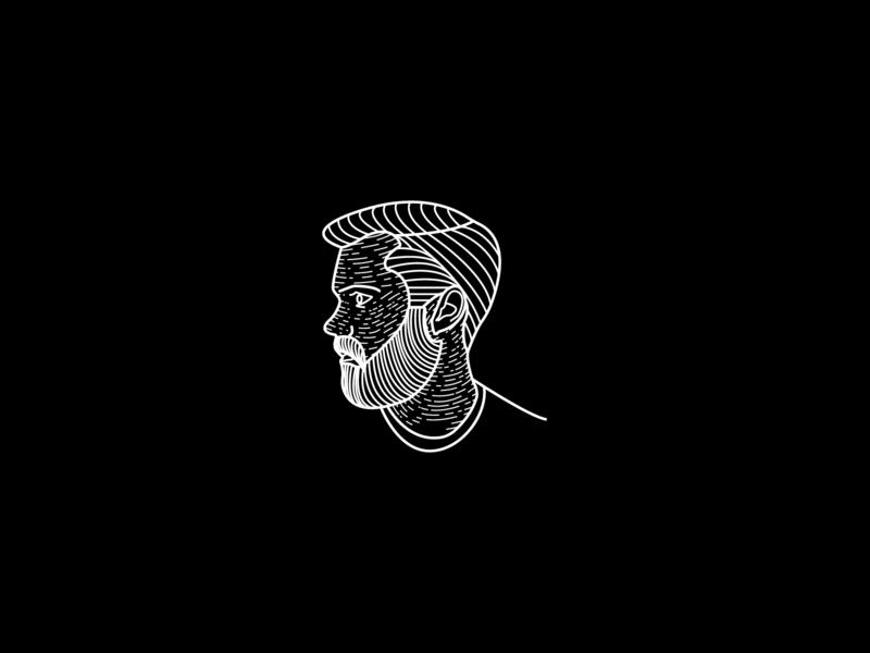 Self-Portrait profile line art portrait illustration