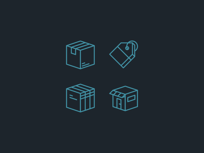 Line Icons minimal vector tag shop store library box icon icons